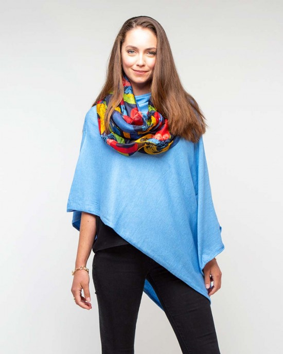 Navy Floral Abstract Silk Scarf