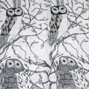 Owl Print Black on Silvery Blue Scarf
