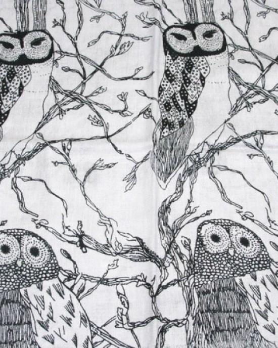 Owl Print Black on Silvery Blue Scarf