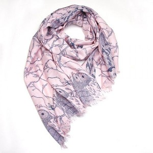 Owl Print Blue on Pink Scarf