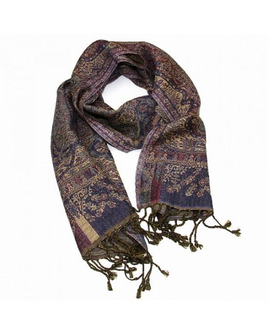 Paisley Merino Wool Scarf Aubergine Navy - WOOL & CASHMERE SCARVES