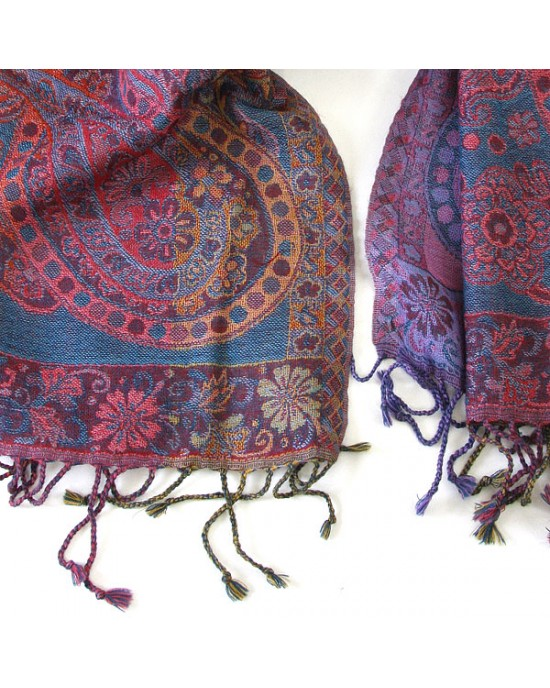 Paisley Merino Wool Scarf Celestial - WOOL & CASHMERE SCARVES
