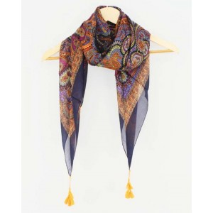 Paisley Silk Square with Tassels