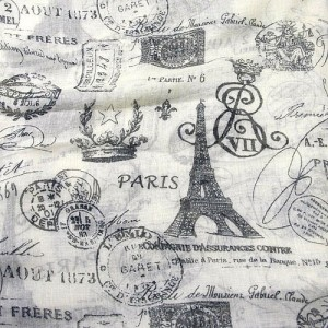 Beige and Grey Long Scarf with Parisian Scenes