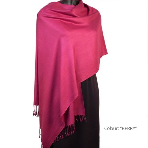 Long Fringed Shawl - Berry Red