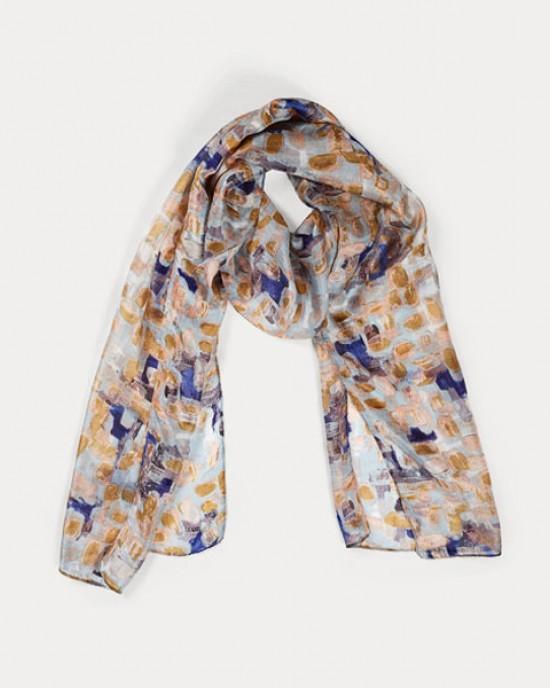 Printed Silk Scarf - Brushstroke Blue