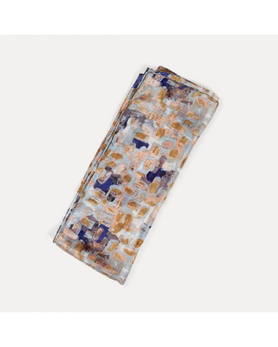 Printed Silk Scarf, Brushstroke Blue - SCARVES, SHAWLS, PASHMINAS