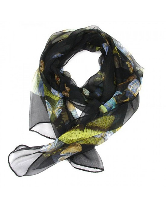 Pure Silk Flower & Butterfly Print Scarf - SCARVES, SHAWLS, PASHMINAS