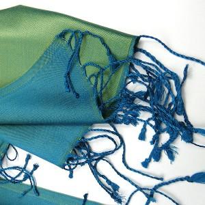Pure Silk 2 Toned Green/Blue Pashmina