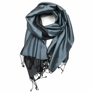 Pure Silk Blue Grey Pashmina