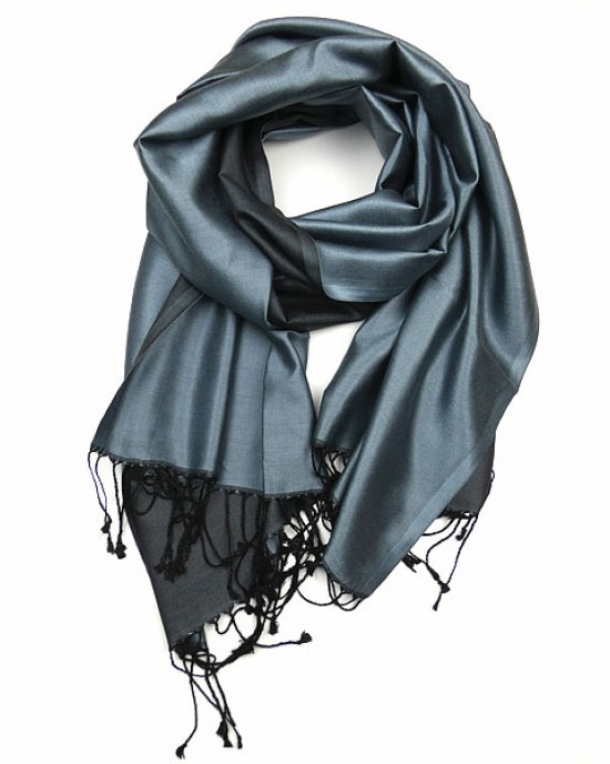 Pure Silk Blue Grey Pashmina
