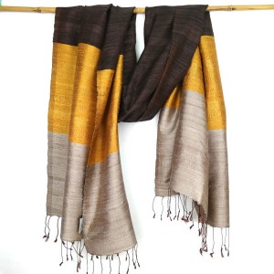 Hand Woven Pure Thai Silk Scarf Brown Gold Mink