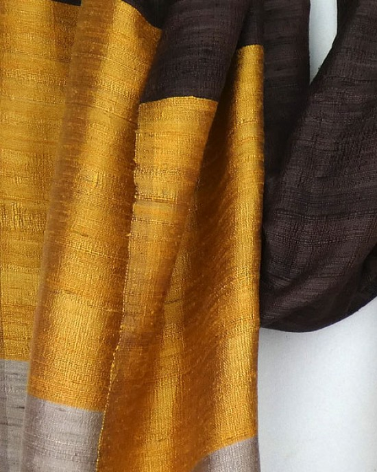 Hand Woven Pure Thai Silk Scarf Brown Gold Mink