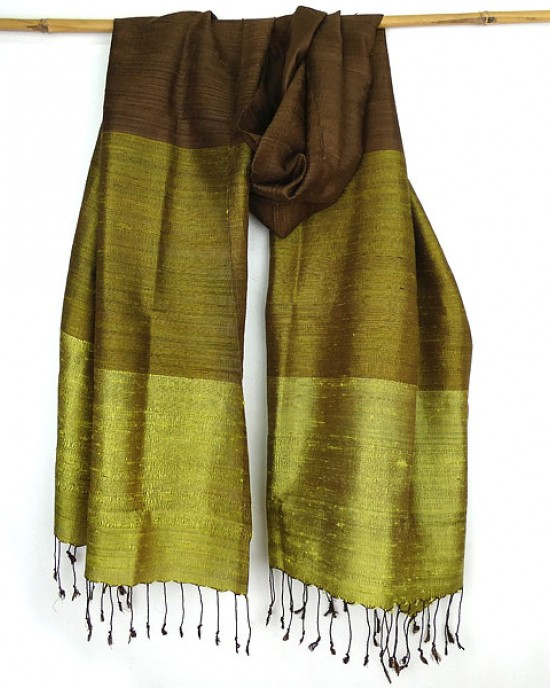 Hand Woven Pure Thai Silk Scarf Olive