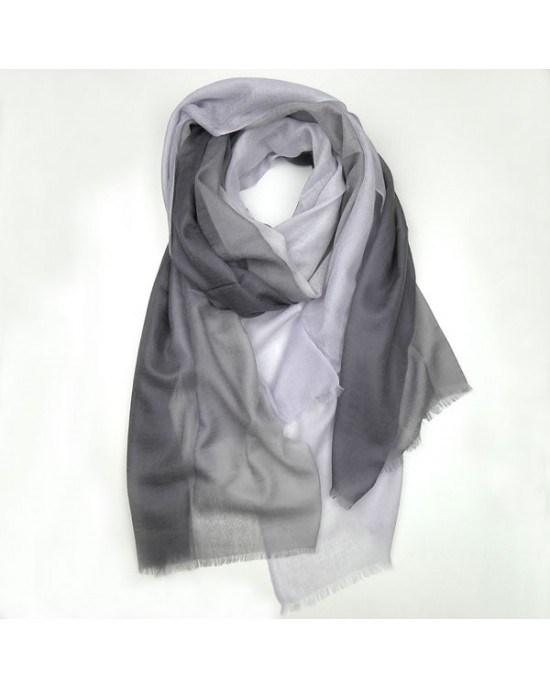 Pure Wool Scarf in Shades of Grey - WOOL & CASHMERE SCARVES