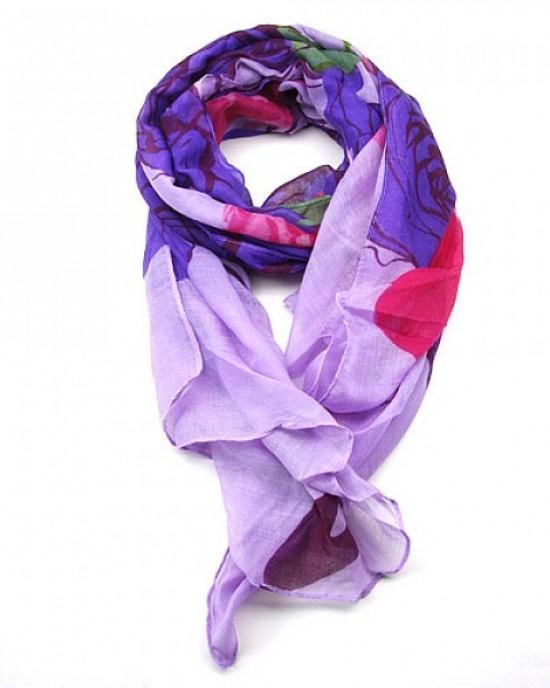 Purple Floral Print Long Scarf