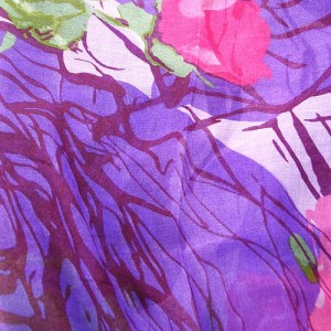 Purple Floral Print Long Scarf