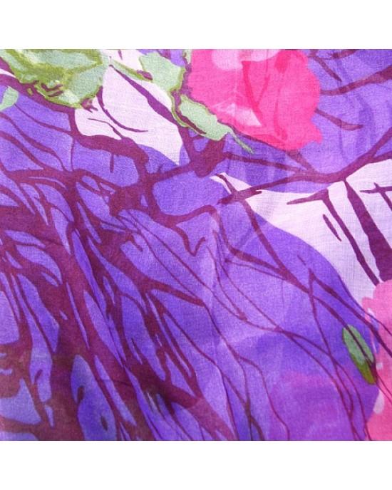 Purple Floral Print Long Scarf - SCARVES, SHAWLS, PASHMINAS