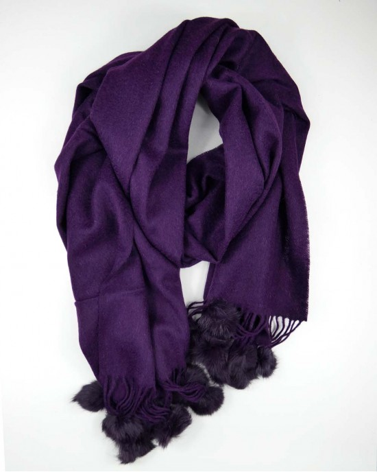 Purple Wool Scarf with Pompoms - WOOL & CASHMERE SCARVES