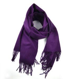 Purple Fringed  Wool Mix Scarf