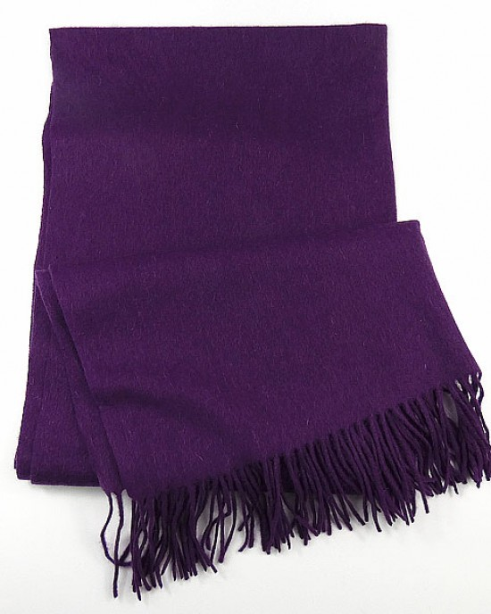 Purple Fringed  Wool Mix Scarf