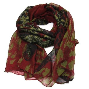 Red Leopard Head Print Long Scarf