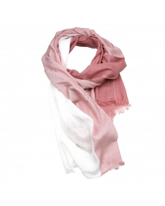 Salmon Pink Cotton Viscose Scarf, Shawl - SCARVES, SHAWLS, PASHMINAS