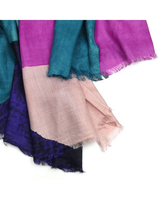 Large Pink Turquoise Abstract Scarf