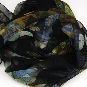 Pure Silk Flower & Butterfly Print Scarf