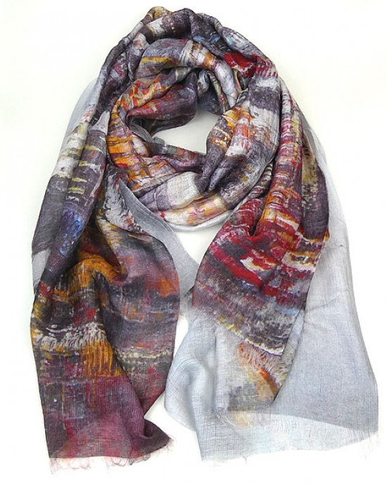 Large Silk Modal Scarf with Cityscape Design