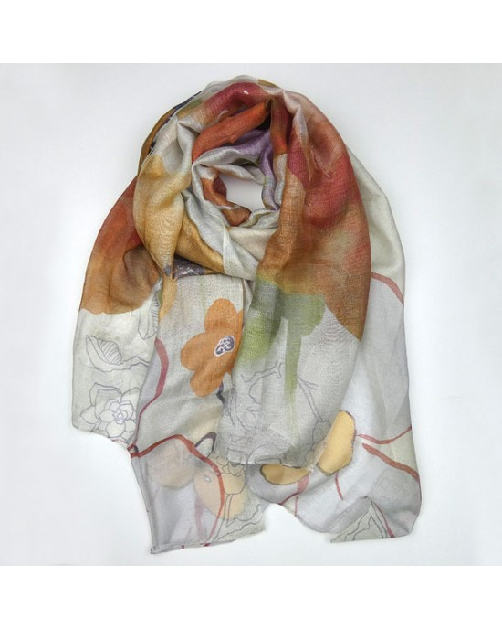 Silk Modal Floral Scarf - SCARVES, SHAWLS, PASHMINAS