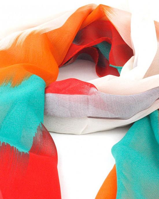 Silk Polyester Chevron Scarf