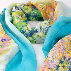 Silk Blended Scarf with Field Flower Design