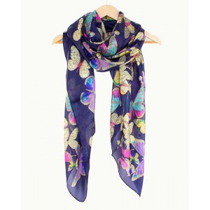 Butterflies Silk Scarf, Navy