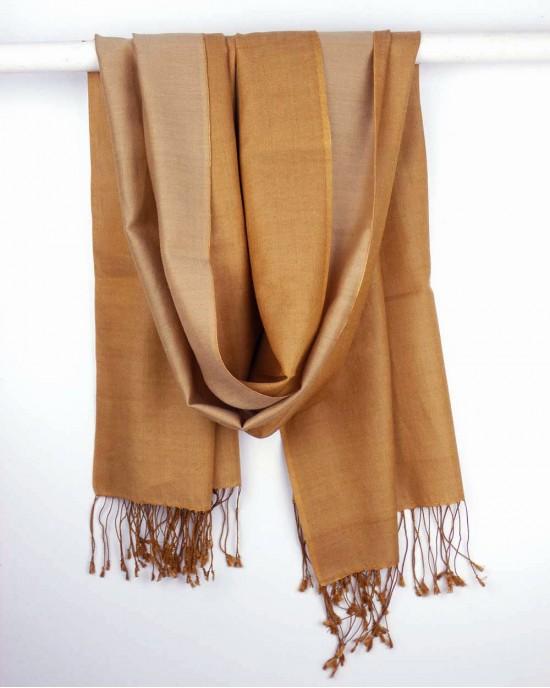 Silk Scarf, Gold, Cinnamon