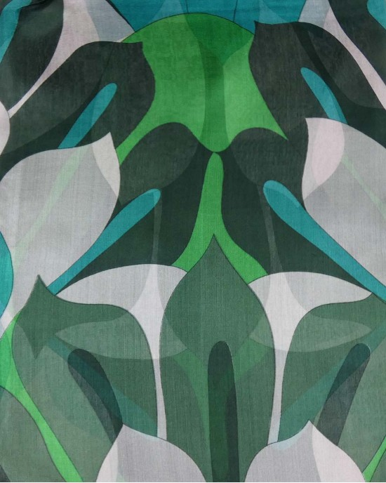 Silk Scarf, Green Floral - WOOL & CASHMERE SCARVES