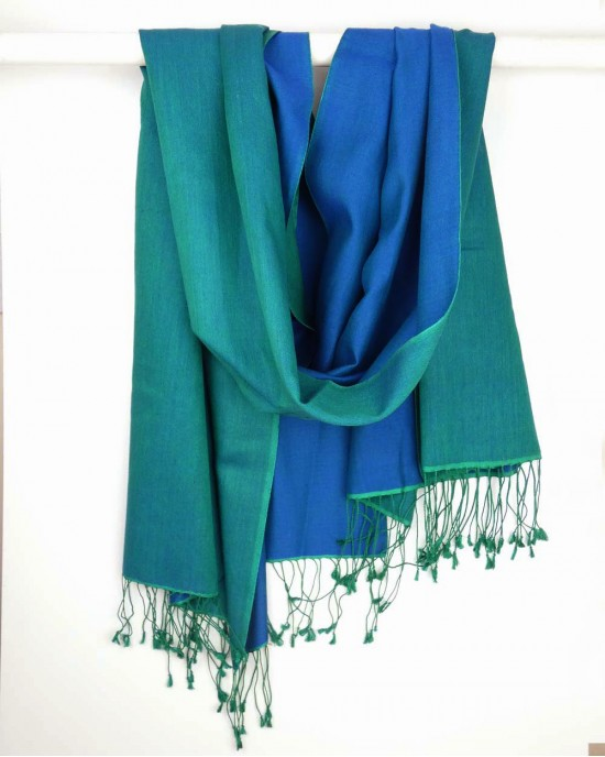 Silk Scarf, Green Turquoise, Reversible