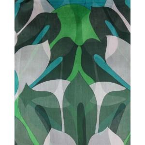 Silk Scarf, Green Floral