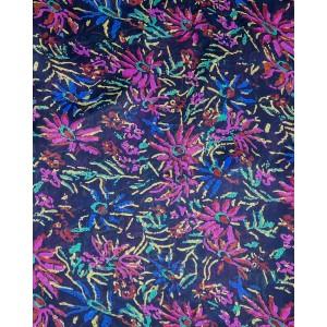 Navy Silk Flower Scarf
