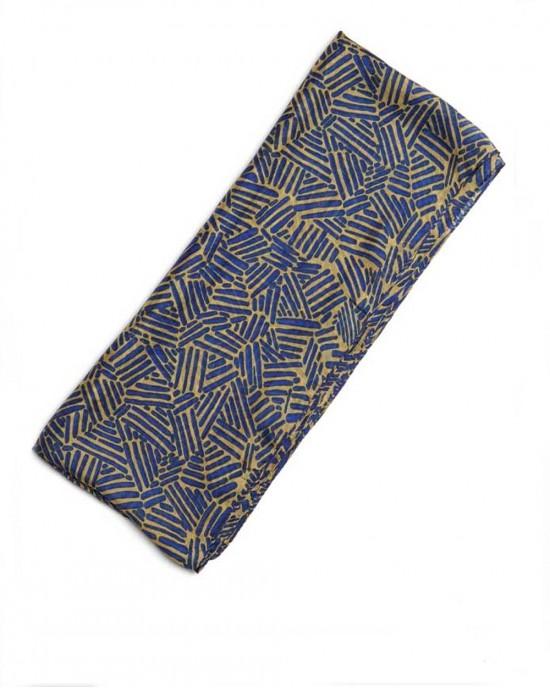 Silk Scarf Trifoli Blue/Mustard - SCARVES, SHAWLS, PASHMINAS