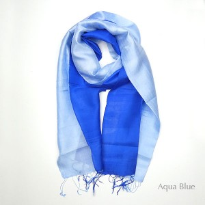 Silk Scarf - Aqua-Blue