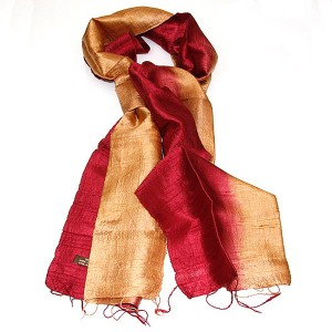 Silk Scarf - Red & Gold