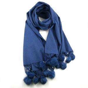 Denim Blue Pure Wool Scarf with Pompoms
