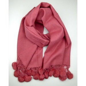 Coral Rose Wool Scarf with Pompoms