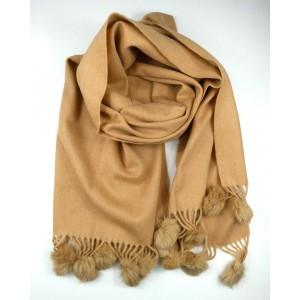 Caramel Wool Mix Scarf with Pompoms